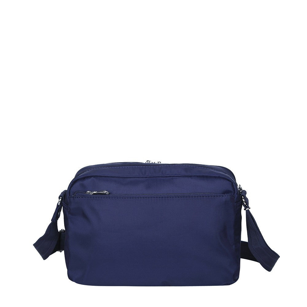 Crossbody Bag - Baker Leather Trimmed Medium Crossbody Bag With Whistle Dangle Back [Evening Blue]