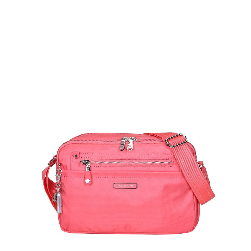 Crossbody Bag - Baker Leather Trimmed Medium Crossbody Bag With Whistle Dangle Front [Coral Pink]