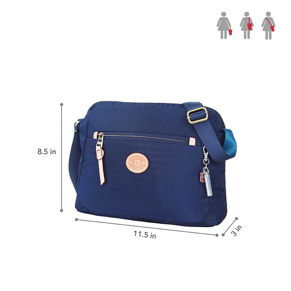 Crossbody Bag - Bali Leather Trimmed Casual Crossbody Bag Size [Evening Blue]