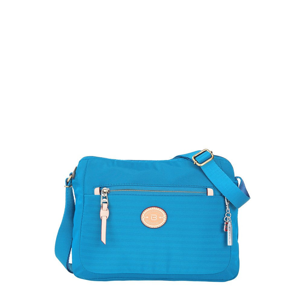 Crossbody Bag - Bali Leather Trimmed Casual Crossbody Bag Front [Cowboy Blue]