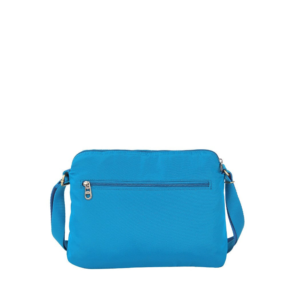 Crossbody Bag - Bali Leather Trimmed Casual Crossbody Bag Back [Cowboy Blue]