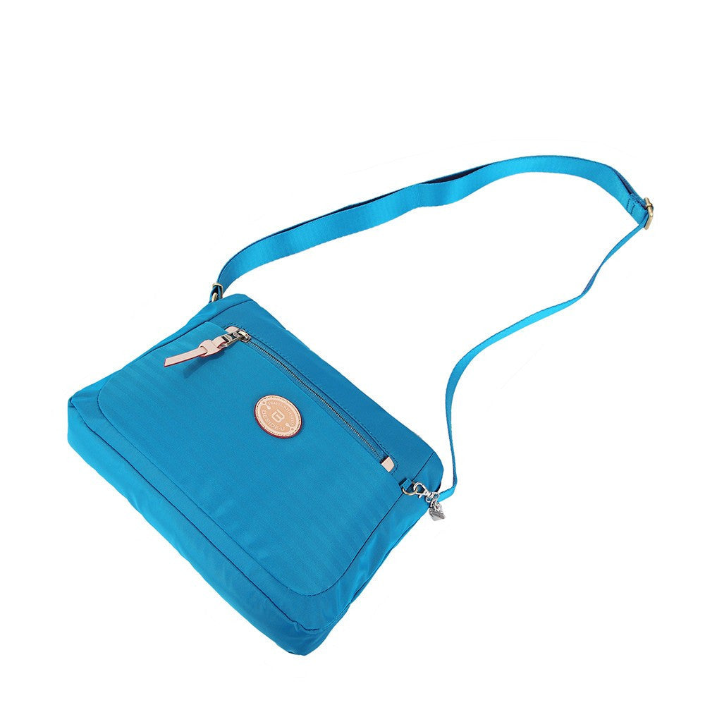 Crossbody Bag - Bali Leather Trimmed Casual Crossbody Bag Lying Down [Cowboy Blue]