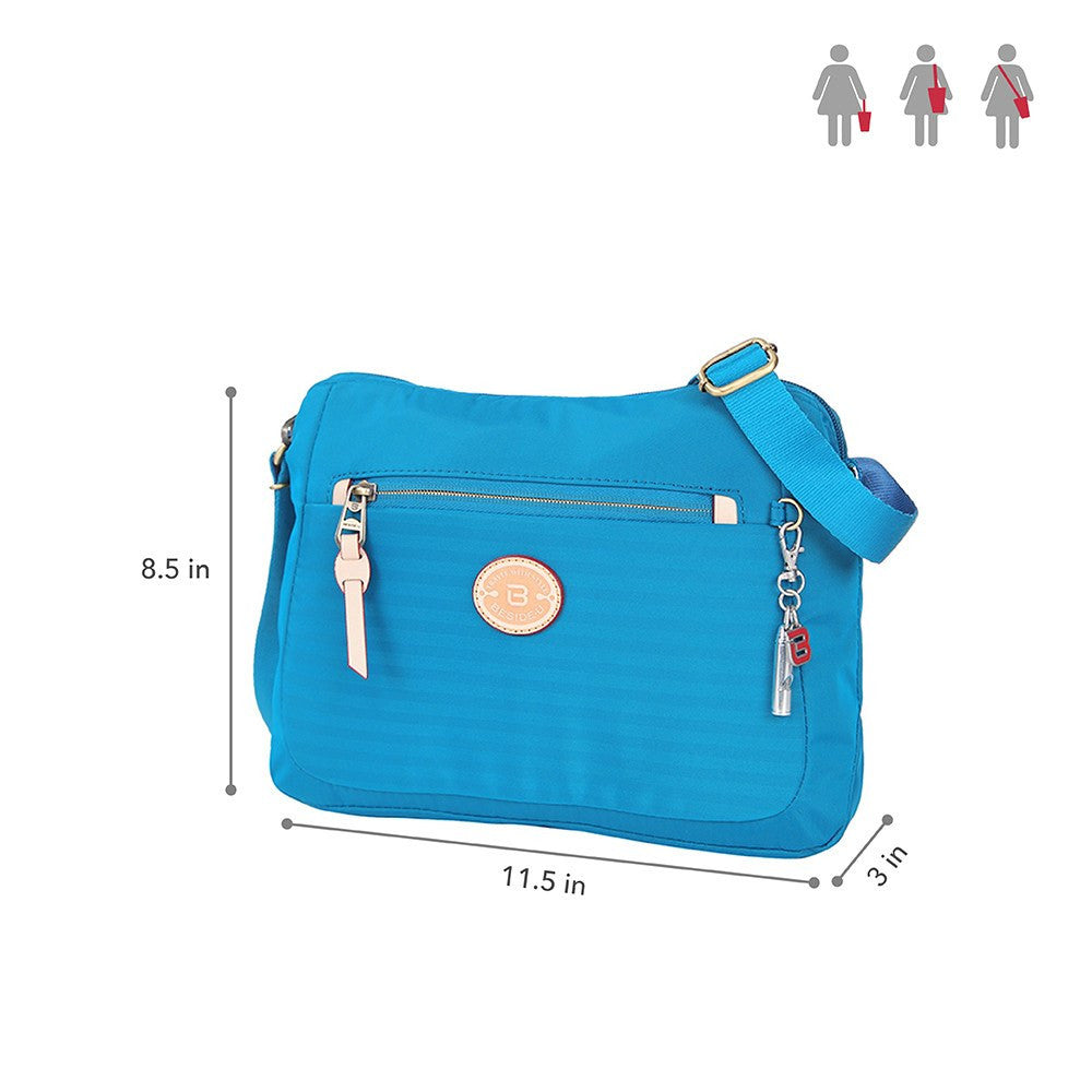 Crossbody Bag - Bali Leather Trimmed Casual Crossbody Bag Size [Cowboy Blue]