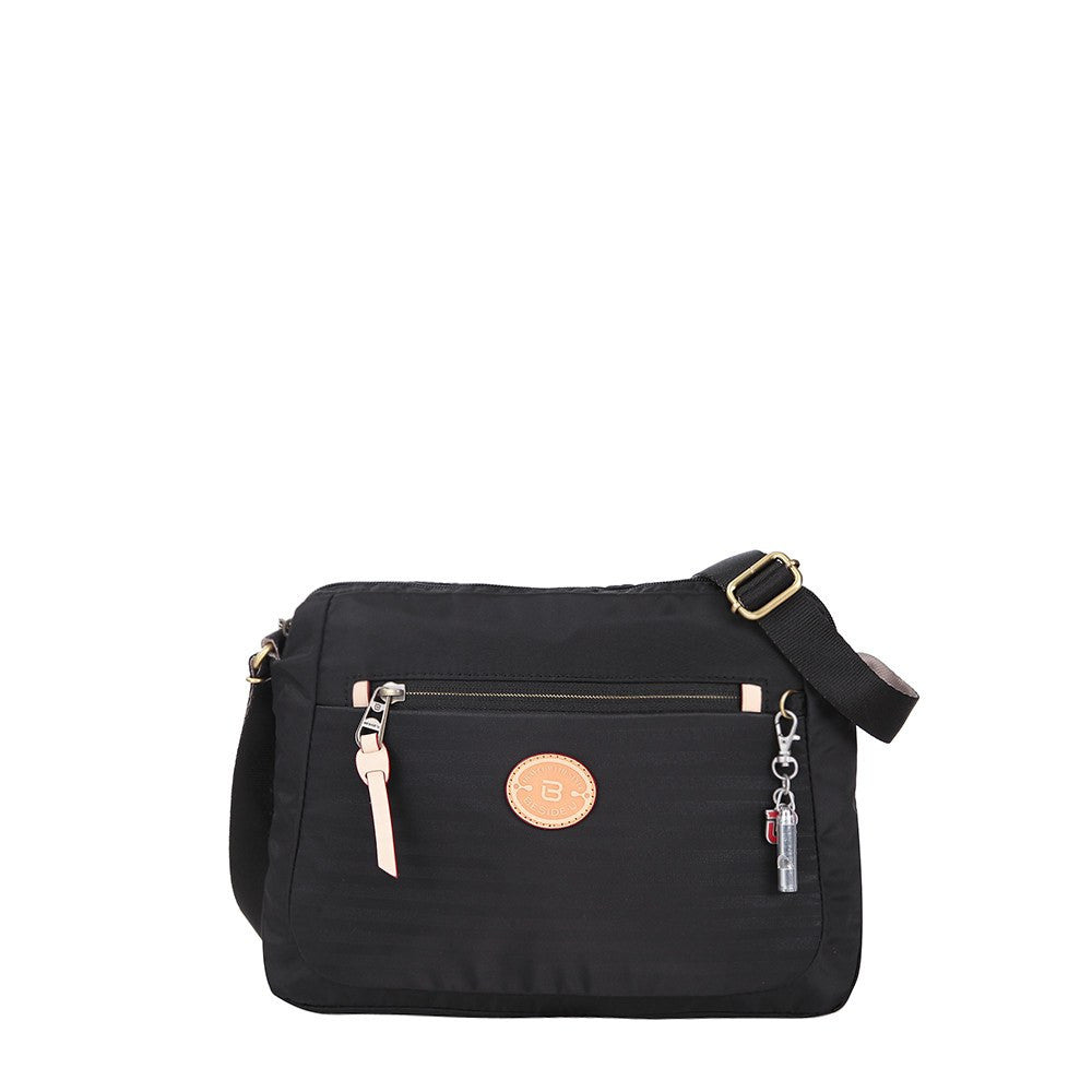 Crossbody Bag - Bali Leather Trimmed Casual Crossbody Bag Front [Black]