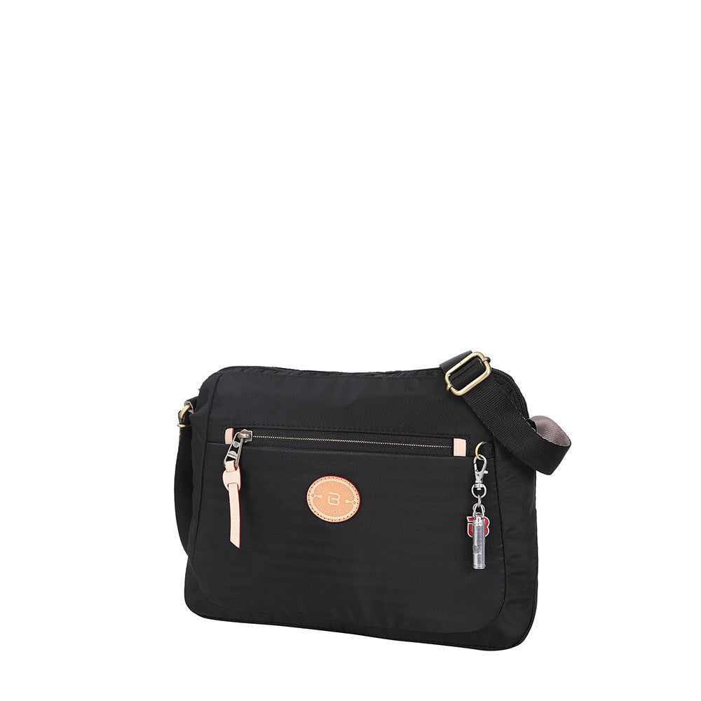 Crossbody Bag - Bali Leather Trimmed Casual Crossbody Bag Angled [Black]