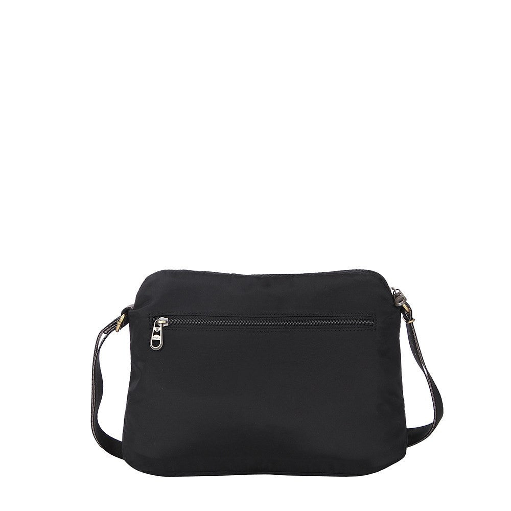 Crossbody Bag - Bali Leather Trimmed Casual Crossbody Bag Back [Black]