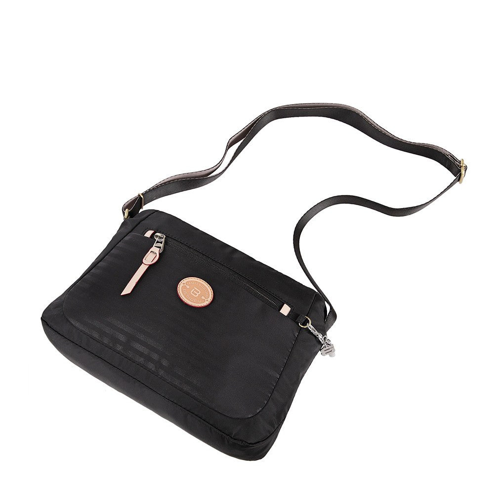 Crossbody Bag - Bali Leather Trimmed Casual Crossbody Bag Lying Down [Black]