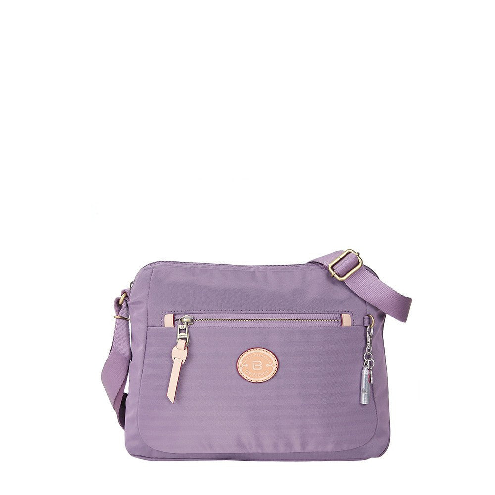 Crossbody Bag - Bali Leather Trimmed Casual Crossbody Bag Front [Grapeade Purple]