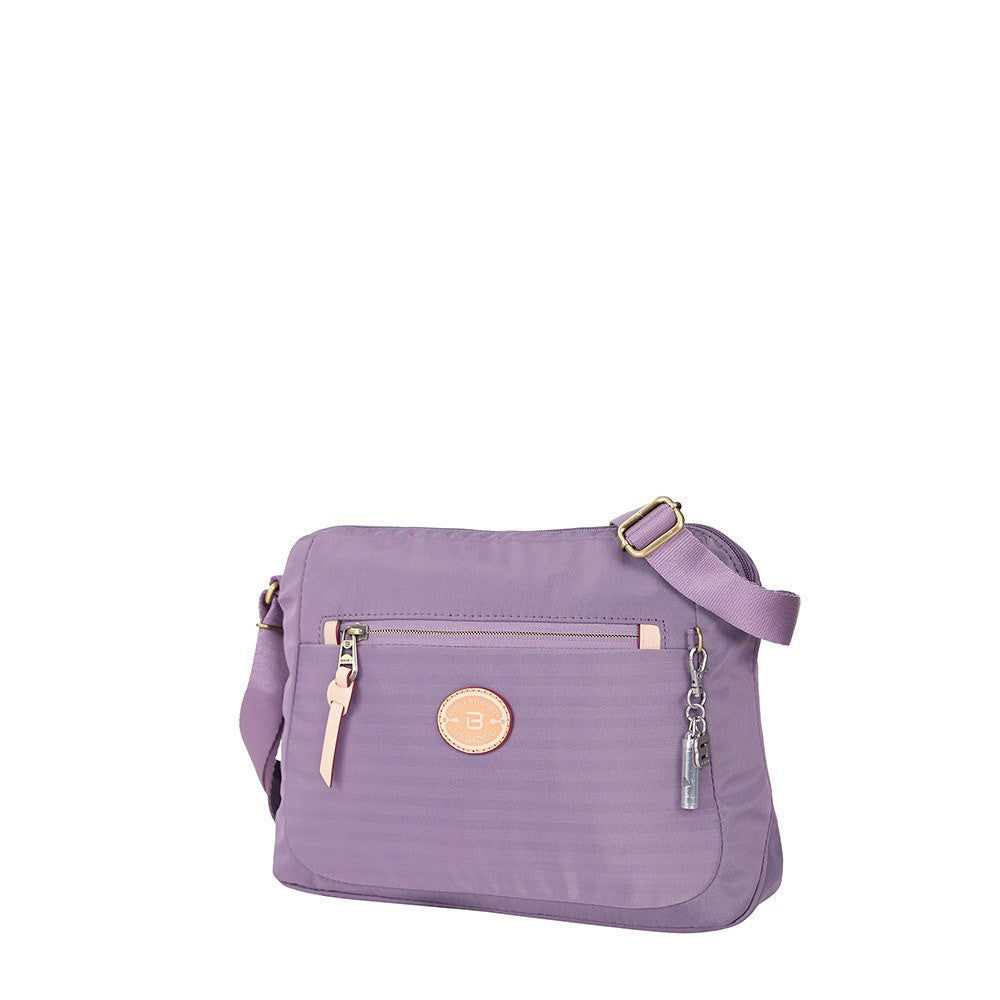 Crossbody Bag - Bali Leather Trimmed Casual Crossbody Bag Angled [Grapeade Purple]