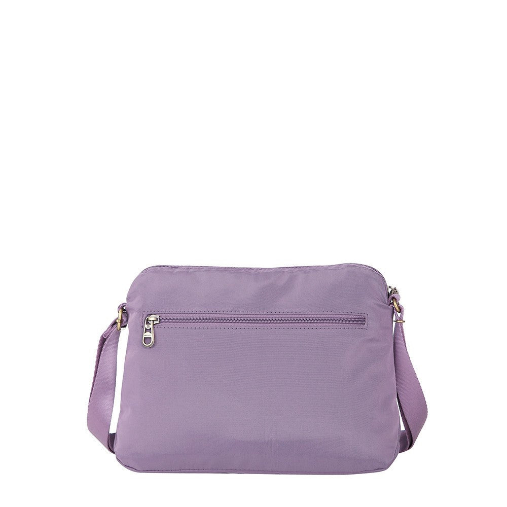 Crossbody Bag - Bali Leather Trimmed Casual Crossbody Bag Back [Grapeade Purple]