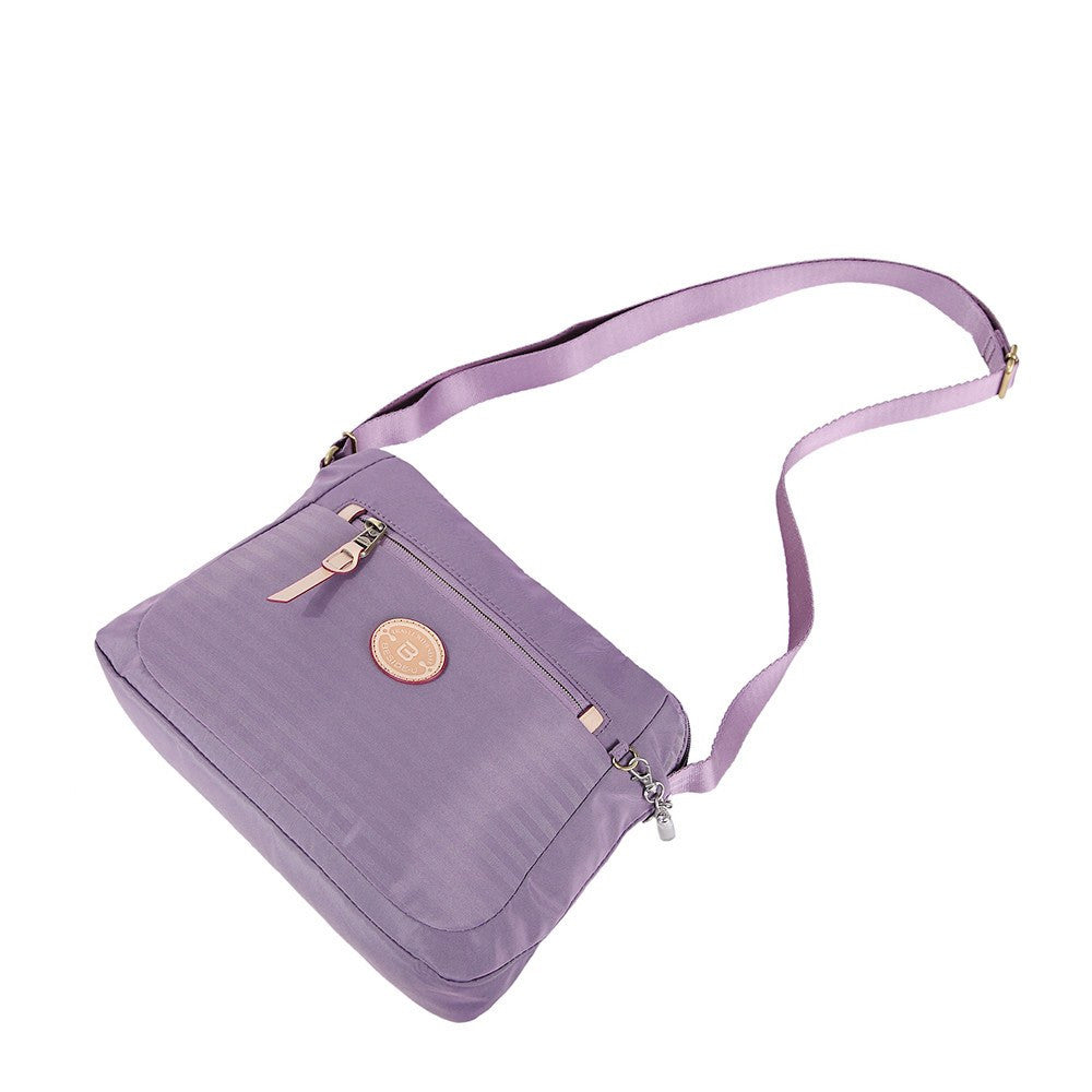 Crossbody Bag - Bali Leather Trimmed Casual Crossbody Bag Lying Down [Grapeade Purple]