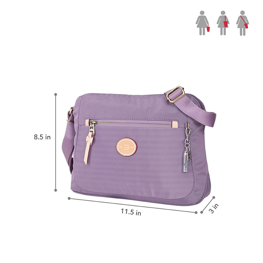 Crossbody Bag - Bali Leather Trimmed Casual Crossbody Bag Size [Grapeade Purple]