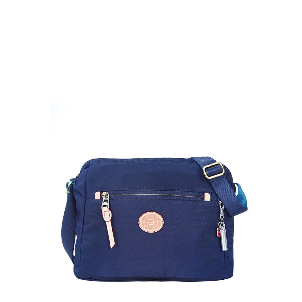 Crossbody Bag - Bali Leather Trimmed Casual Crossbody Bag Front [Evening Blue]