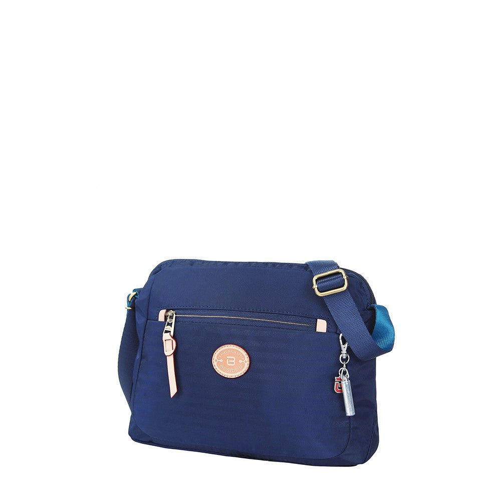 Crossbody Bag - Bali Leather Trimmed Casual Crossbody Bag Angled [Evening Blue]