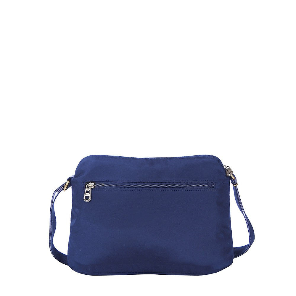 Crossbody Bag - Bali Leather Trimmed Casual Crossbody Bag Back [Evening Blue]