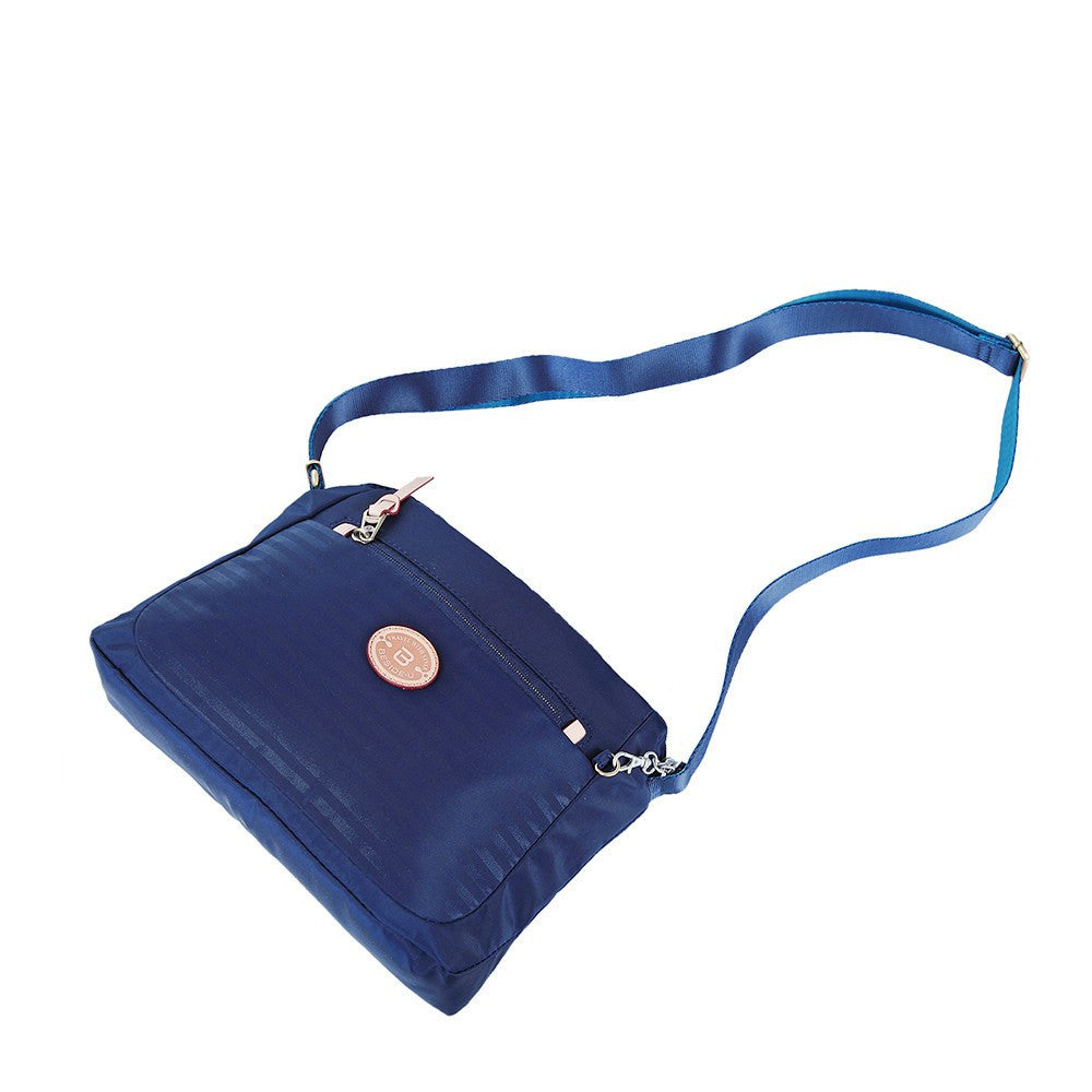 Crossbody Bag - Bali Leather Trimmed Casual Crossbody Bag Lying Down [Evening Blue]