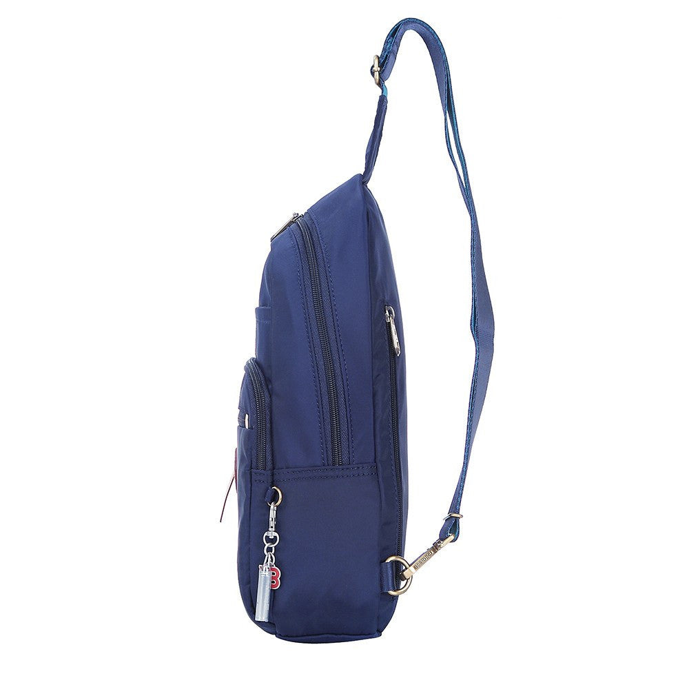 Crossbody Bag - Brisbane Leather Trimmed Crossbody Sling Bag Side [Evening Blue]