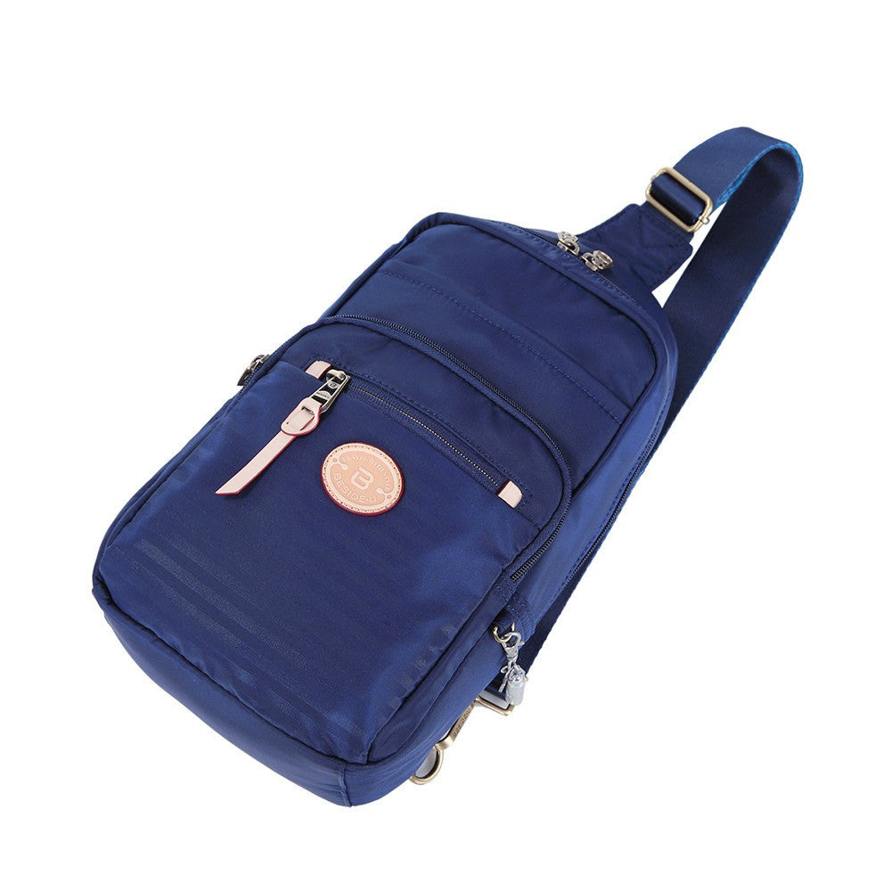 Crossbody Bag - Brisbane Leather Trimmed Crossbody Sling Bag Lying Down [Evening Blue]