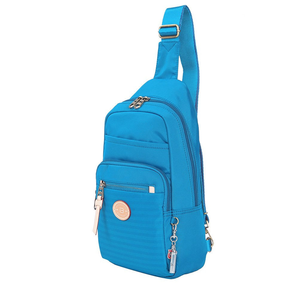 Crossbody Bag - Brisbane Leather Trimmed Crossbody Sling Bag Angled [Cowboy Blue]