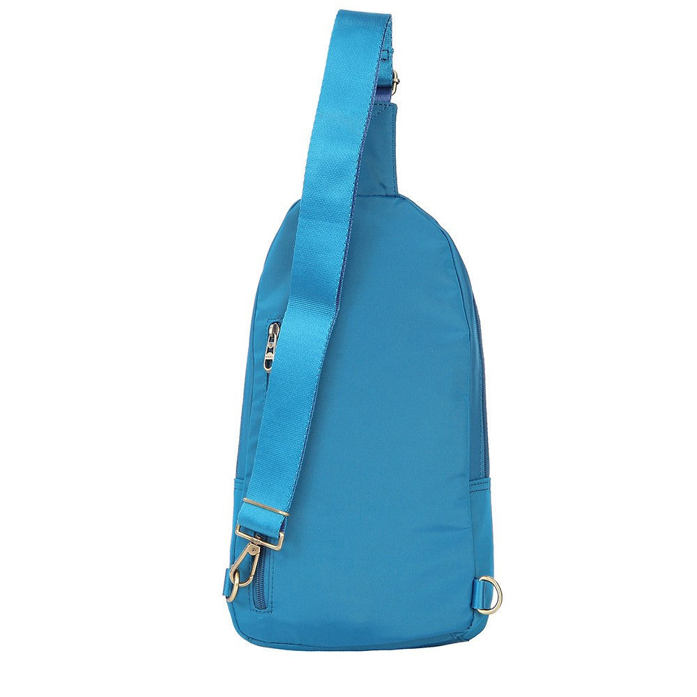 Crossbody Bag - Brisbane Leather Trimmed Crossbody Sling Bag Back [Cowboy Blue]