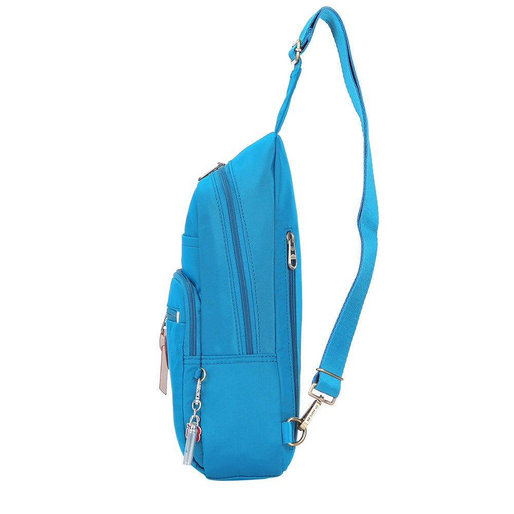 Crossbody Bag - Brisbane Leather Trimmed Crossbody Sling Bag Side [Cowboy Blue]
