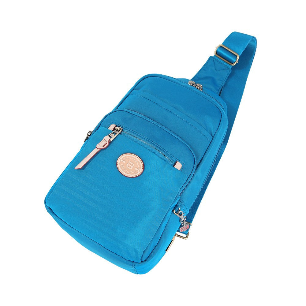 Crossbody Bag - Brisbane Leather Trimmed Crossbody Sling Bag Lying Down [Cowboy Blue]