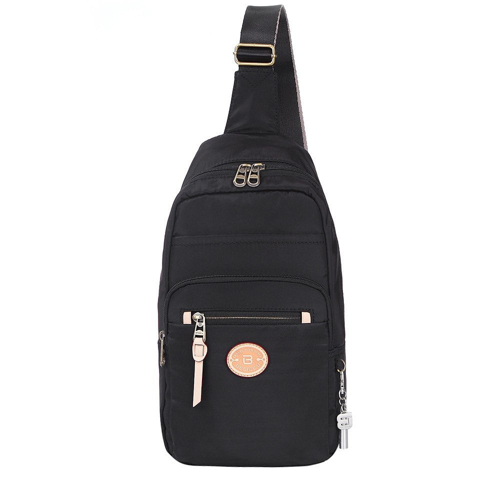 Crossbody Bag - Brisbane Leather Trimmed Crossbody Sling Bag Front [Black]