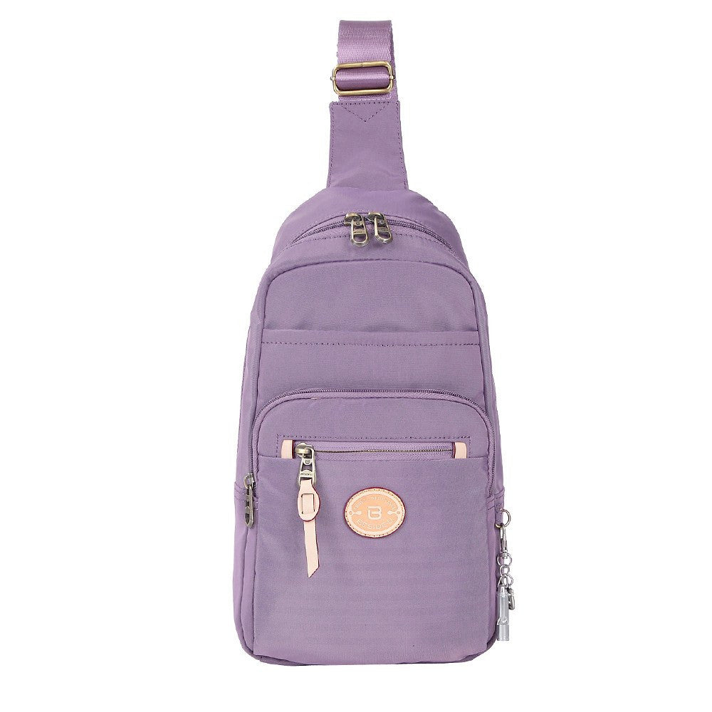 Crossbody Bag - Brisbane Leather Trimmed Crossbody Sling Bag Front [Grapeade Purple]
