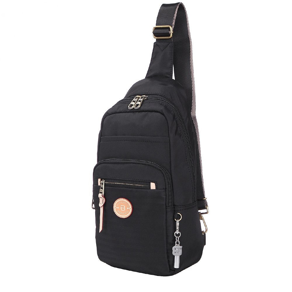Crossbody Bag - Brisbane Leather Trimmed Crossbody Sling Bag Angled [Black]