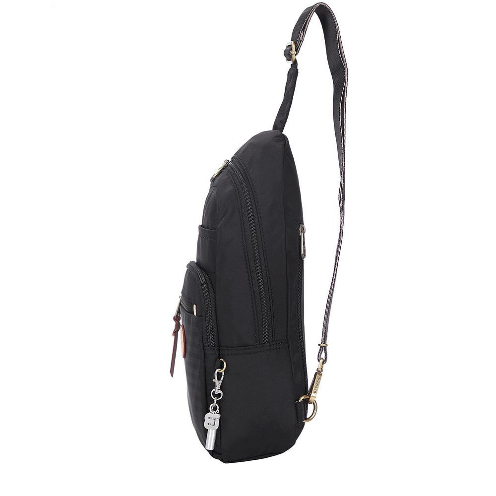 Crossbody Bag - Brisbane Leather Trimmed Crossbody Sling Bag Side [Black]