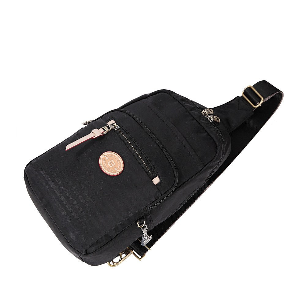 Crossbody Bag - Brisbane Leather Trimmed Crossbody Sling Bag Lying Down [Black]
