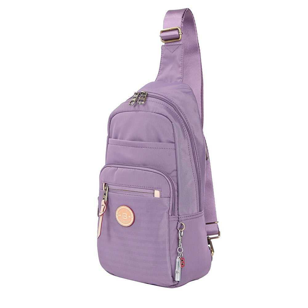 Crossbody Bag - Brisbane Leather Trimmed Crossbody Sling Bag Angled [Grapeade Purple]
