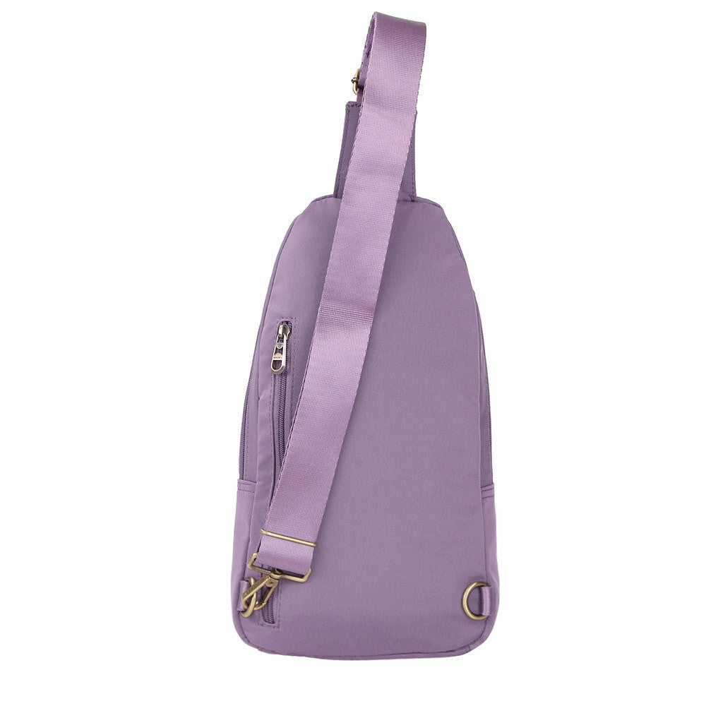 Crossbody Bag - Brisbane Leather Trimmed Crossbody Sling Bag Back [Grapeade Purple]