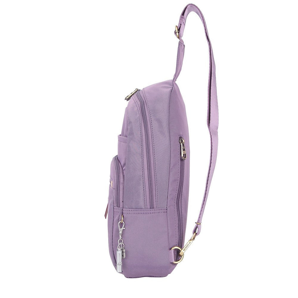Crossbody Bag - Brisbane Leather Trimmed Crossbody Sling Bag Side [Grapeade Purple]
