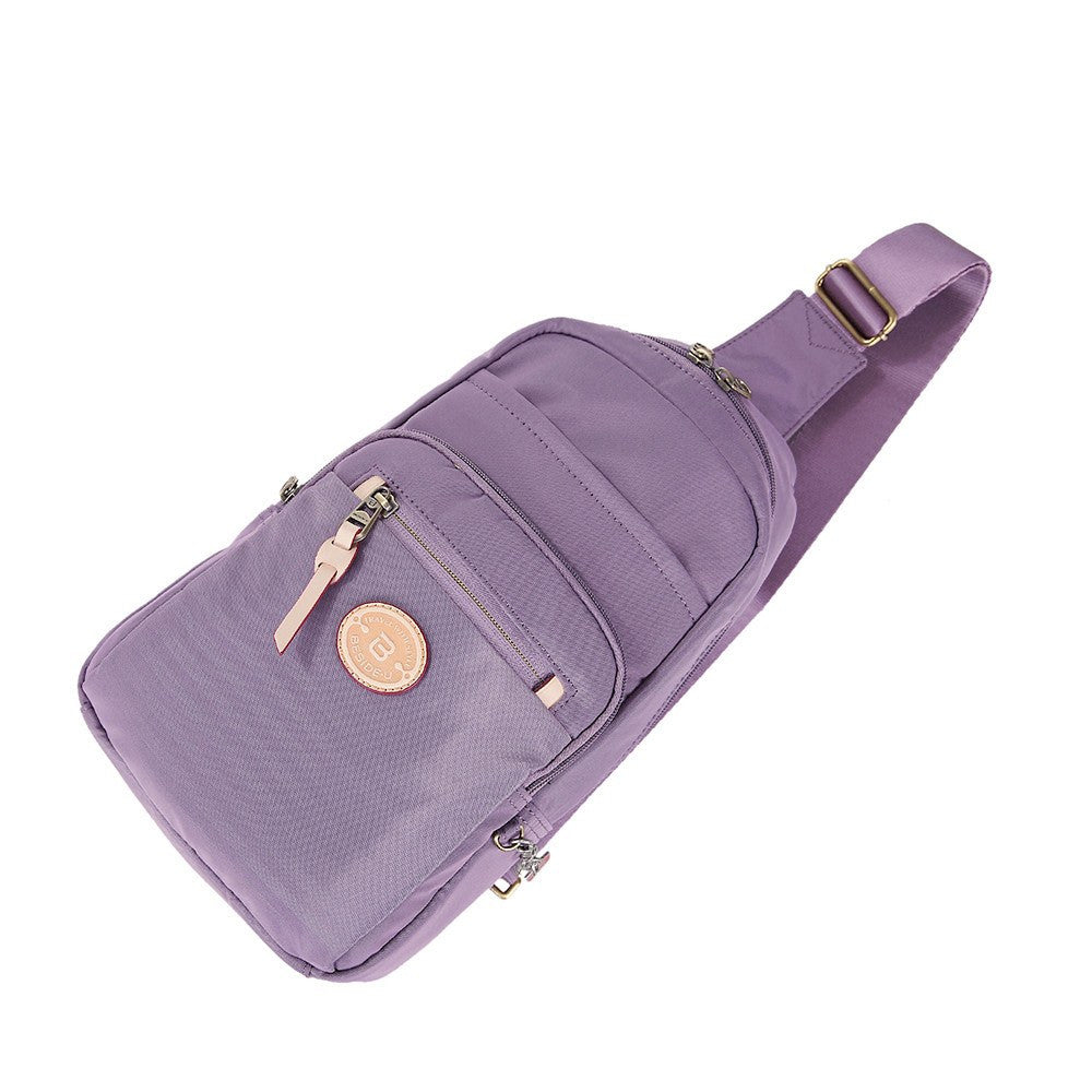 Crossbody Bag - Brisbane Leather Trimmed Crossbody Sling Bag Lying Down [Grapeade Purple]