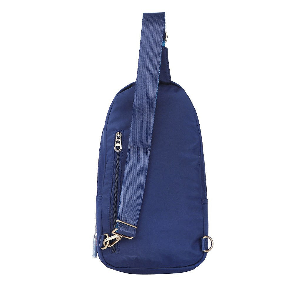 Crossbody Bag - Brisbane Leather Trimmed Crossbody Sling Bag Back [Evening Blue]