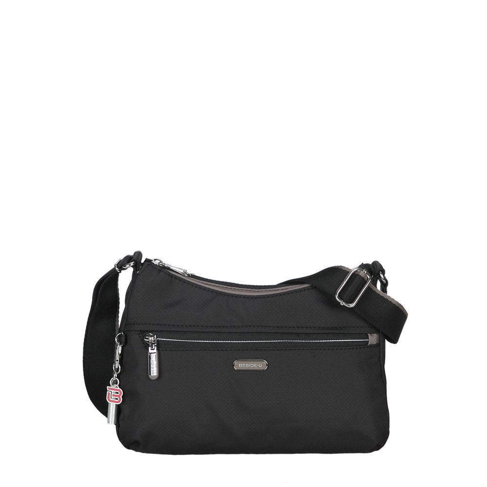 Crossbody Bag - Daisy Color Trimmed Small Crossbody Bag Front [Black And Puce Grey]