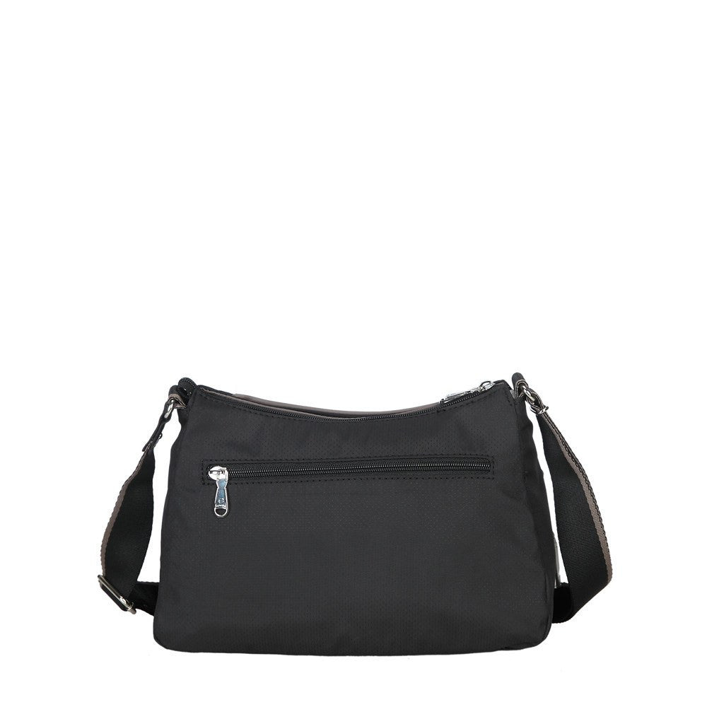 Crossbody Bag - Daisy Color Trimmed Small Crossbody Bag Back [Black And Puce Grey]