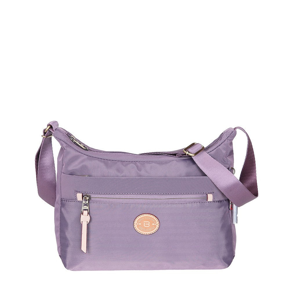 Crossbody Bag - Flores Leather Trimmed Travel Crossbody Bag Front [Grapeade Purple]