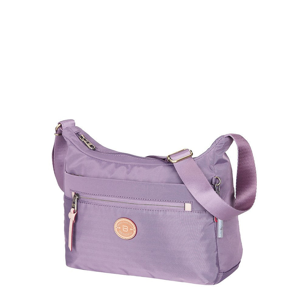 Crossbody Bag - Flores Leather Trimmed Travel Crossbody Bag Angled [Grapeade Purple]