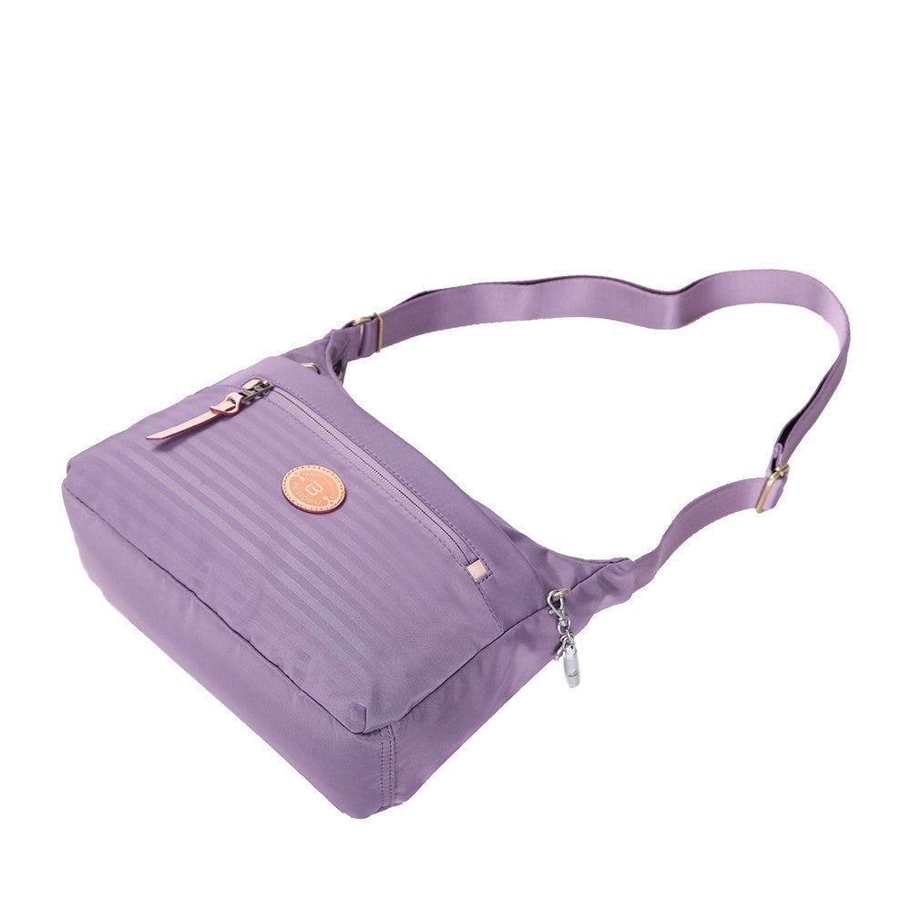 Crossbody Bag - Flores Leather Trimmed Travel Crossbody Bag Lying Down [Grapeade Purple]