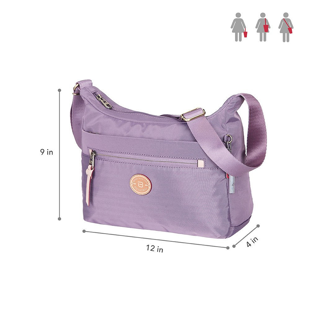 Crossbody Bag - Flores Leather Trimmed Travel Crossbody Bag Size [Grapeade Purple]