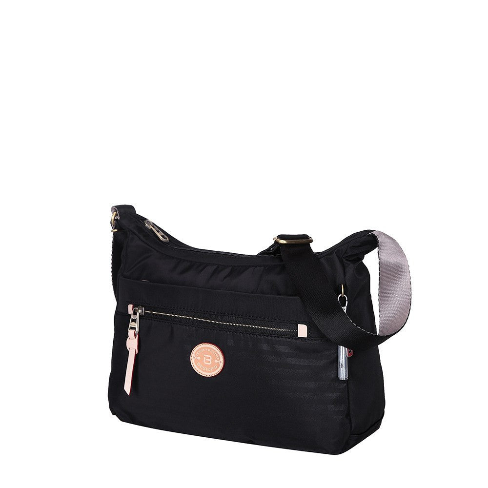 Crossbody Bag - Flores Leather Trimmed Travel Crossbody Bag Angled [Black]