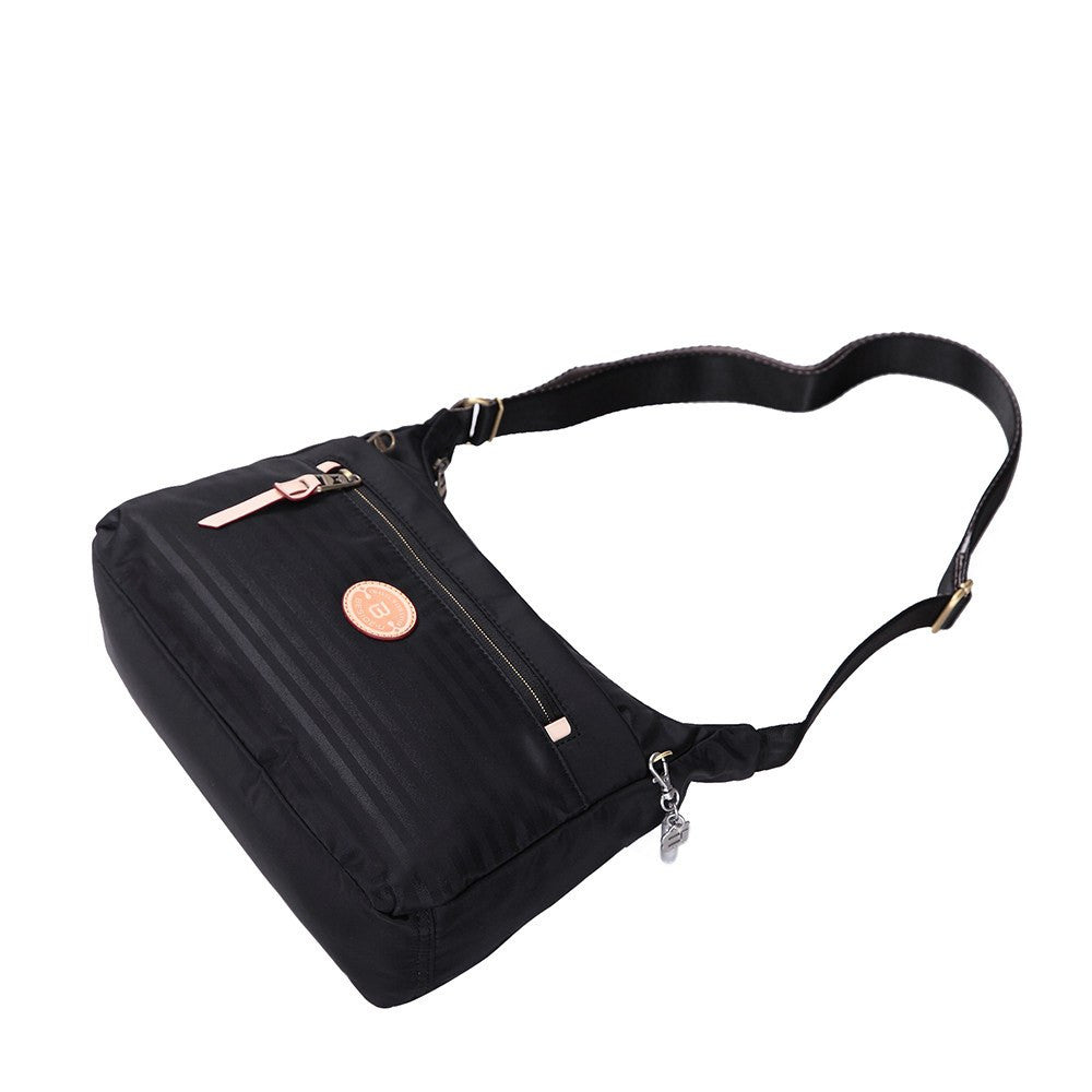 Crossbody Bag - Flores Leather Trimmed Travel Crossbody Bag Lying Down [Black]
