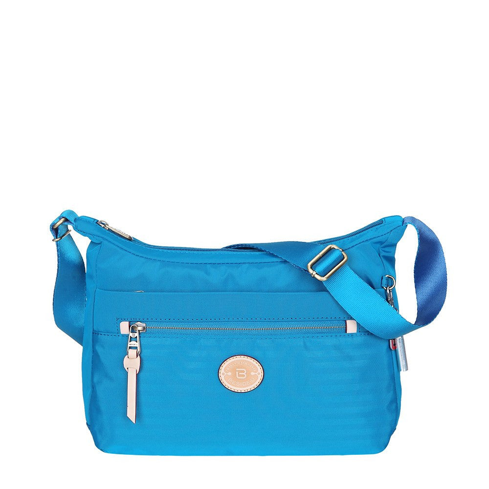 Crossbody Bag - Flores Leather Trimmed Travel Crossbody Bag Front [Cowboy Blue]