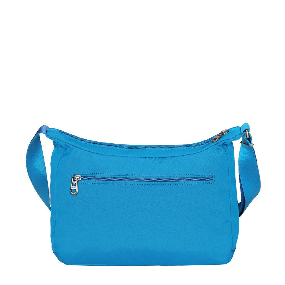 Crossbody Bag - Flores Leather Trimmed Travel Crossbody Bag Back [Cowboy Blue]