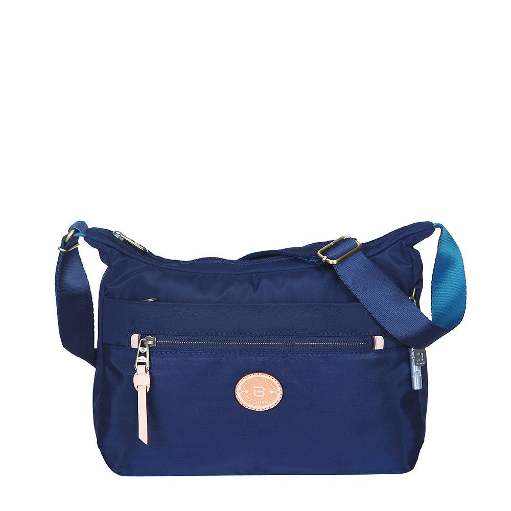 Crossbody Bag - Flores Leather Trimmed Travel Crossbody Bag Front [Evening Blue]
