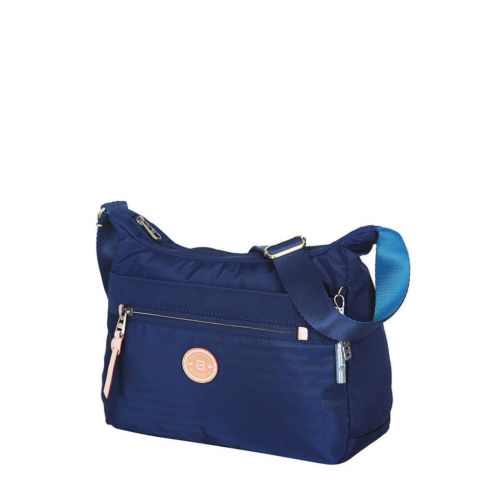 Crossbody Bag - Flores Leather Trimmed Travel Crossbody Bag Angled [Evening Blue]