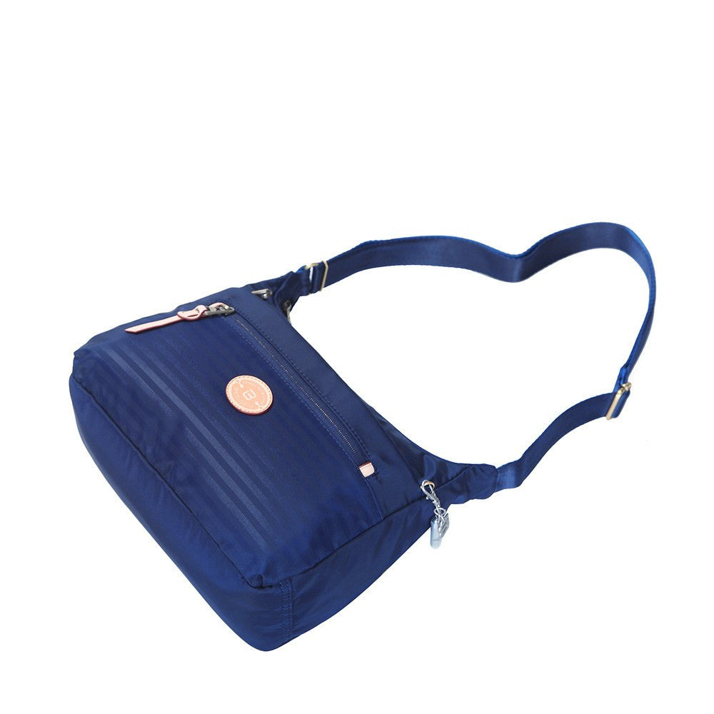 Crossbody Bag - Flores Leather Trimmed Travel Crossbody Bag Lying Down [Evening Blue]