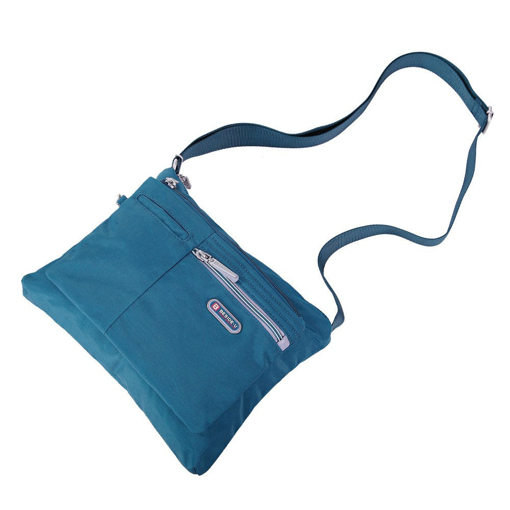 Crossbody Bag - Genoa Two-Tone Casual Crossbody Bag Lying Down [Navy Blue]